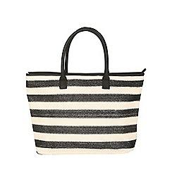 Jane Norman - Black & Cream Striped Beach Bag