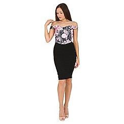 Jane Norman - Black floral bonded lace bardot dress