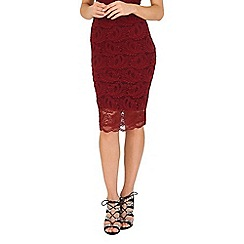 Jane Norman - Burgundy Lace Midi Skirt