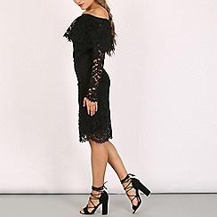 Lili London - Black bardo frill long sleeve dress