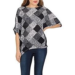 Voulez Vous - Navy square knit batwing jumper