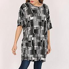 Voulez Vous - Black slouchy patchwork  oversized top