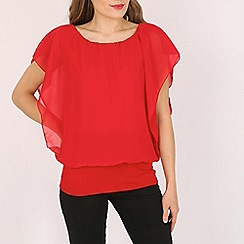 Voulez Vous - Red butterfly print angel sleeve top