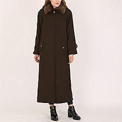 David Barry - Brown ladies faux fur collar raincoat