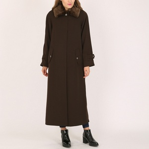 David Barry Brown ladies faux fur collar raincoat