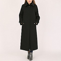 David Barry - Black ladies faux fur collar raincoat