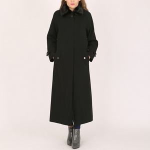 David Barry Black ladies faux fur collar raincoat