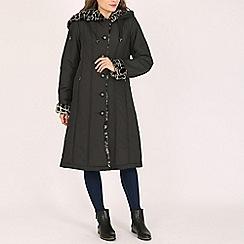 David Barry - Black ladies faux fur trimmed raincoat