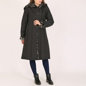 David Barry Black ladies faux fur trimmed raincoat