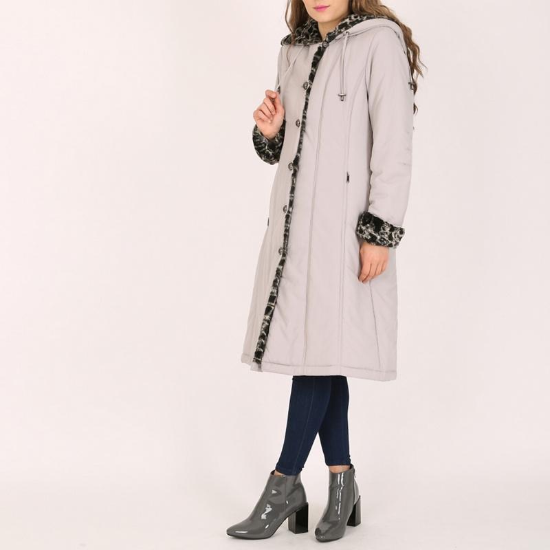 David Barry Silver Ladies Faux Fur Trimmed Raincoat,