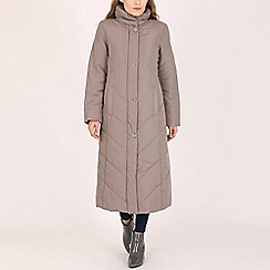 David Barry - Taupe ladies quilted coat