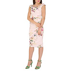 Jolie Moi - Pink floral print wiggle dress