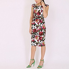 Jolie Moi - White floral print wiggle dress