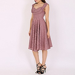 Jolie Moi - Mauve ruched crossover bust midi prom dress