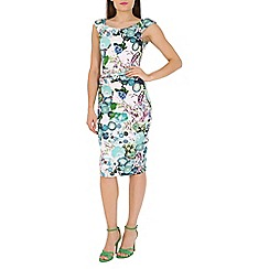 Jolie Moi - Green retro print ruched wiggle dress