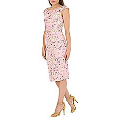 Jolie Moi - Pink retro print ruched wiggle dress