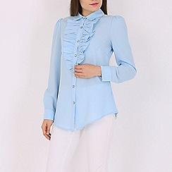 Jolie Moi - Light blue ruffle front shirt