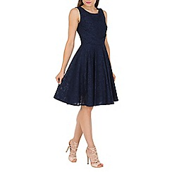 Jolie Moi - Navy lace bonded pleated waistband dress