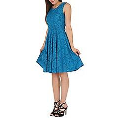 Jolie Moi - Turquoise Lace Bonded Skater Dress