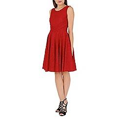 Jolie Moi - Dark red lace bonded pleated waistband dress