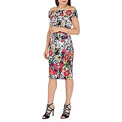 Jolie Moi - Black floral print bardot neckline midi dress