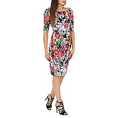 Jolie Moi - Black half sleeves floral print ruched midi dress