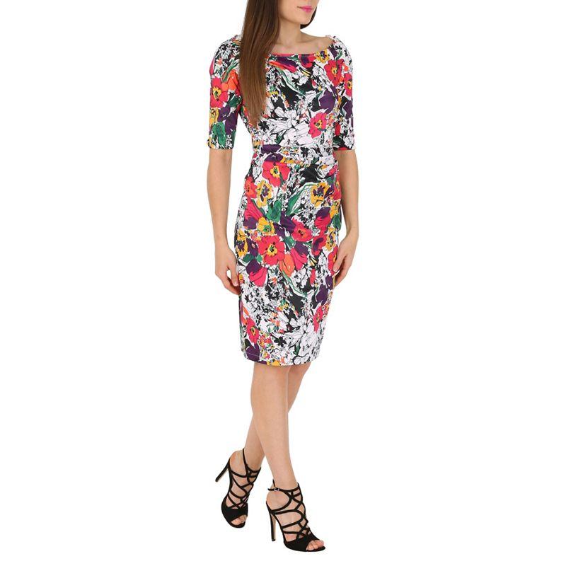 Jolie Moi Black Half Sleeves Floral Print Ruched Midi