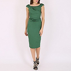 Jolie Moi - Green 40s ruched wiggle dress