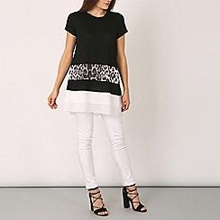 Izabel London - Black short sleeve animal print top