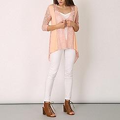 Izabel London - Light pink long sleeve lace overall cardigan