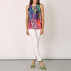 Izabel London - Multicoloured pleated animal print top