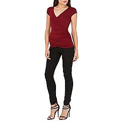 Jane Norman - Red black short sleeve wrap top