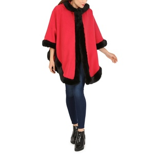 David Barry Red faux fur trim hooded cape