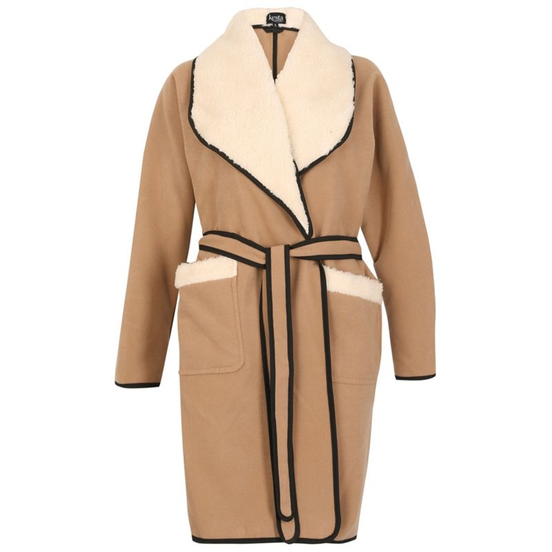 David Barry Camel faux shearling jacket