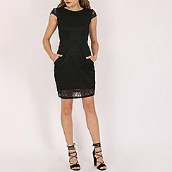 Voulez Vous - Black lace tie back pleat dress