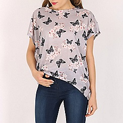Voulez Vous - Brown blossom butterfly oversized tee