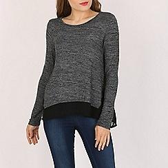 Voulez Vous - Black chiffon hem knitted top