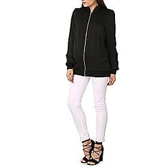 Izabel London - Black longline bomber jacket