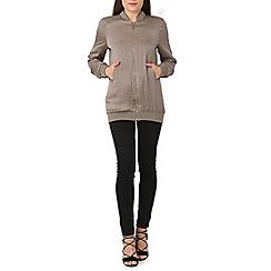 Izabel London - Grey longline bomber jacket