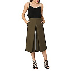 Izabel London - Olive wide leg pleat culottes