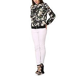 Izabel London - Black all over floral printed bomber jacket