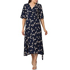 Izabel London - Navy swallow print wrap midi dress
