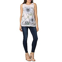Izabel London - White round neck sleeveless floral printed top