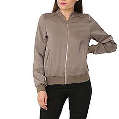 Izabel London - Grey sateen zip bomber jacket