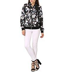 Izabel London - Black floral print zip bomber jacket