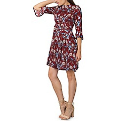 Izabel London - Dark purple flare sleeves floral print skater dress
