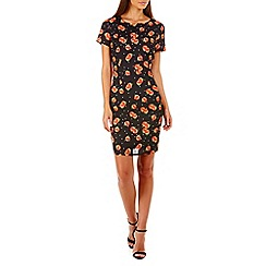 Sugarhill Boutique - Black julie peach print shift dress