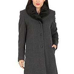 David Barry - Grey faux fur collar maxi coat