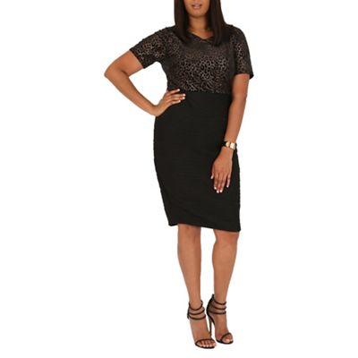 Samya Black leopard print bodice dress