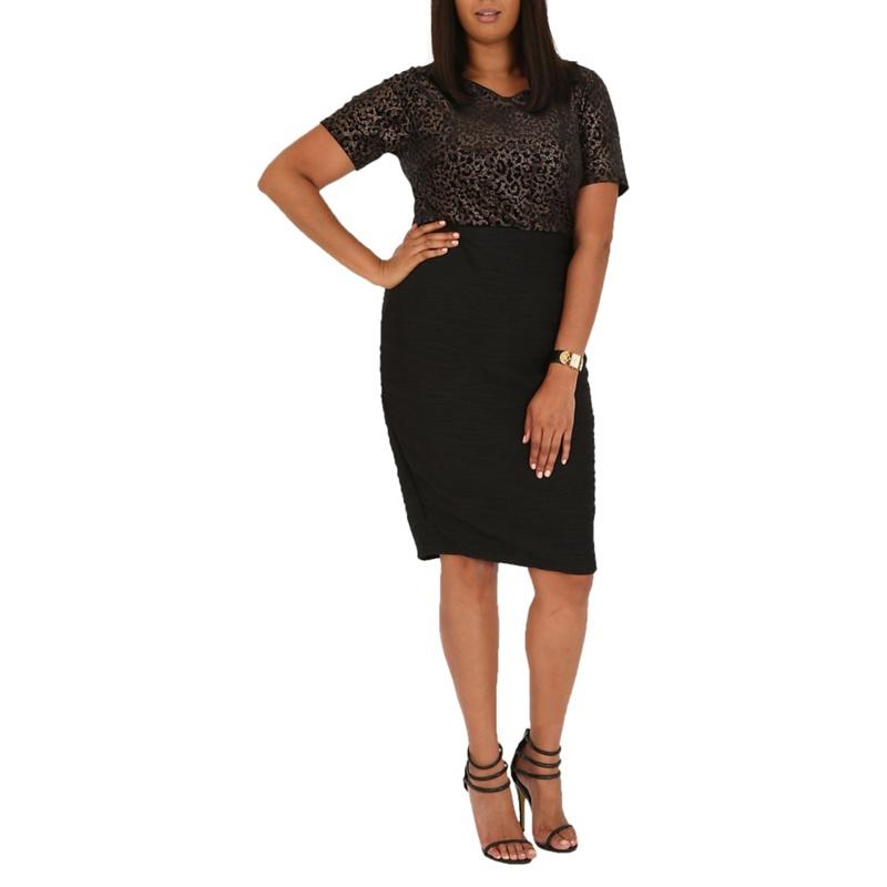 Plus Size Samya Black Leopard Print Bodice Dress, Womens,